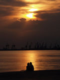 Honeymoon Lover. In a glorious sunset Royalty Free Stock Photos