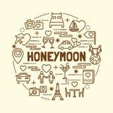 Honeymoon minimal thin line icons set vector illustration