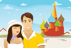 Honeymoon in Moscow. In front of Saint Basil Cathedral in Moscow honeymoon couple vector illustration