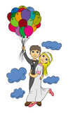 Honeymoon On A Balloon Royalty Free Stock Photos