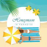 Honeymoon in paradise design couple on the beach with palm leaf. Vector illustration EPS10 royalty free illustration