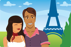 Honeymoon in Paris. France eiffel tower in front of the honeymoon couple stock illustration