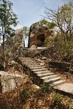 Honeymoon Point, Mount Abu, Sirohi District, Rajasthan, India. Steps leading to the rock formations at Honeymoon Point, Mount Abu, Sirohi District, Rajasthan Stock Image