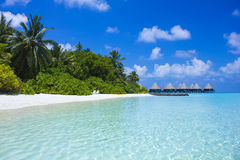 Honeymoon resort in the Maldives, Eden on Earth. The Maldives, North Ari Atolls, Eden on Earth Royalty Free Stock Photography