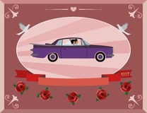 Honeymoon on the retro car Royalty Free Stock Images