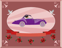 Honeymoon on the retro car Stock Photo