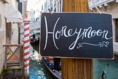 Honeymoon sign Stock Image