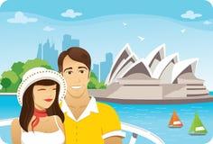 Honeymoon in Sydney. Honeymoon couple in front of the sydney opera house royalty free illustration