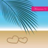 Honeymoon travel concept paradise palm beach holiday vector illustration