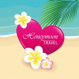 Honeymoon travel design on the beach with heart palm leaf and tropical frangipani flowers stock illustration