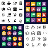 Honeymoon Trip Icons All in One Icons Black & White Color Flat Design Freehand Set. This image is a vector illustration and can be scaled to any size without stock illustration