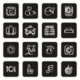 Honeymoon Trip Icons Freehand White On Black Circle. This image is a vector illustration and can be scaled to any size without loss of resolution vector illustration