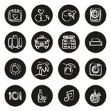 Honeymoon Trip Icons Freehand White On Black. This image is a vector illustration and can be scaled to any size without loss of resolution vector illustration
