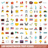 100 honeymoon trip icons set, flat style. 100 honeymoon trip icons set in flat style for any design vector illustration Stock Image