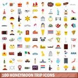 100 honeymoon trip icons set, flat style Stock Image