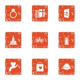 Honeymoon trip icons set, grunge style. Honeymoon trip icons set. Grunge set of 9 honeymoon trip vector icons for web isolated on white background royalty free illustration