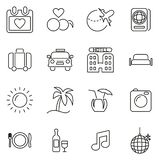 Honeymoon Trip Icons Thin Line Vector Illustration Set. This image is a vector illustration and can be scaled to any size without loss of resolution vector illustration