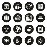 Honeymoon Trip Icons White On Black Circle. This image is a vector illustration and can be scaled to any size without loss of resolution stock illustration