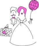 Honeymoon trip. Wedding travelling. Beautiful vector card Stock Images