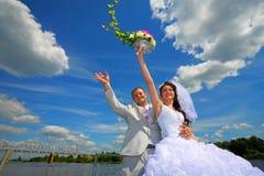 Honeymoon trip  on the yacht Royalty Free Stock Photography