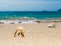 Honeymoon on tropical island, two wedding rings on sandy beach Stock Photos