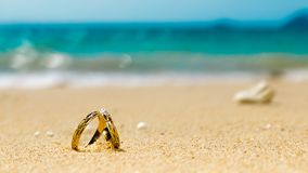 Honeymoon on tropical island, two wedding rings on sandy beach Royalty Free Stock Images