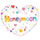 Honeymoon unique decorative lettering. Heart shaped love design royalty free illustration