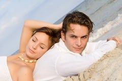Honeymoon vacation. Happy loving couple on honeymoon vacation royalty free stock photos