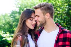 Honeymoon vacation. man and woman in checkered shirt relax in park. family weekend. romantic date. valentines day royalty free stock photography