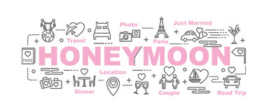 Honeymoon vector banner. Design concept, flat style with thin line art icons on white background Royalty Free Stock Photos