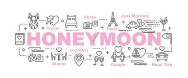 Honeymoon vector banner Royalty Free Stock Photos