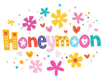 Honeymoon vector lettering decorative type Stock Photos