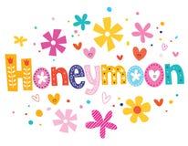 Honeymoon vector lettering decorative type Stock Photos