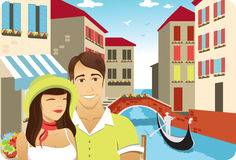 Honeymoon in Venice. Honeymoon couple in front of the gondola in italy venice channel Royalty Free Stock Photography