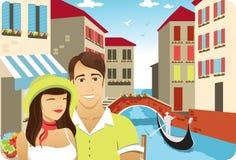 Honeymoon in Venice. Honeymoon couple in front of the gondola in italy venice channel vector illustration