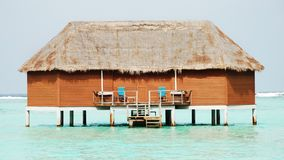 Honeymoon Villa. A honeymoon villa over the lagoon of an indian ocean resort Royalty Free Stock Images