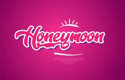 Honeymoon word text typography pink design icon. Honeymoon word typography design in pink color suitable for logo, banner or text design royalty free illustration