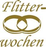 Honeymoon word with wedding rings - german. Vector Stock Photos