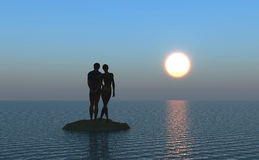 Honeymoon. Young couple at the beach watching the moonrise Stock Photos