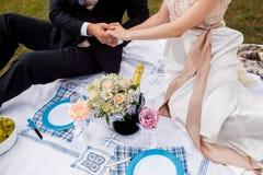 Honeymooners łączyli ręki i obsiadanie na pinkinie w parku Zdjęcie Royalty Free