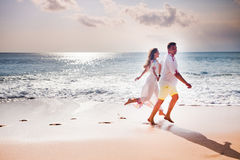 Honeymooners couple just married Stock Photo