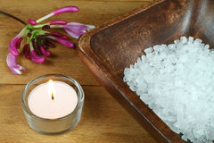 Honeysuckle aromatherapy. Honeysuckle flower and salt crystals in spa treatment Stock Photography