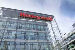 Honeywell company logo on headquarters building. PRAGUE, CZECH REPUBLIC - MAY 22: Honeywell company logo on headquarters building on May 22, 2017 in Prague Royalty Free Stock Photos
