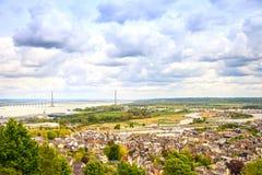 Honfleur Dorf- und Seine-Vogelperspektive. Normandie, Frankreich Stockbild