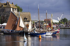 Honfleur famous village, boats and water. Royalty Free Stock Photos