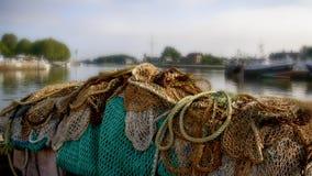 Honfleur, France. Honfleur port. The fishing nets Royalty Free Stock Photo