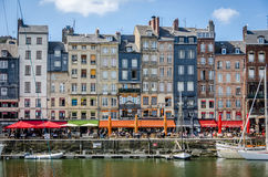 Honfleur a France shipperstown. Houses and boats Royalty Free Stock Photo