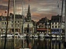 Honfleur hamn Frankrike Arkivfoto