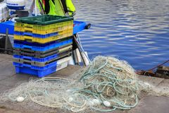 Normandy, France. Colored fish net in hatbor of Honfleur, Normandy, France. 07-03-2018 Honfleur, Normandy, France. Colored fish net in hatbor of Honfleur stock photo