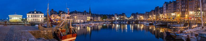 Honfleur Normandy May 5th 2013 : Panoramic view at dusk of the b stock photos